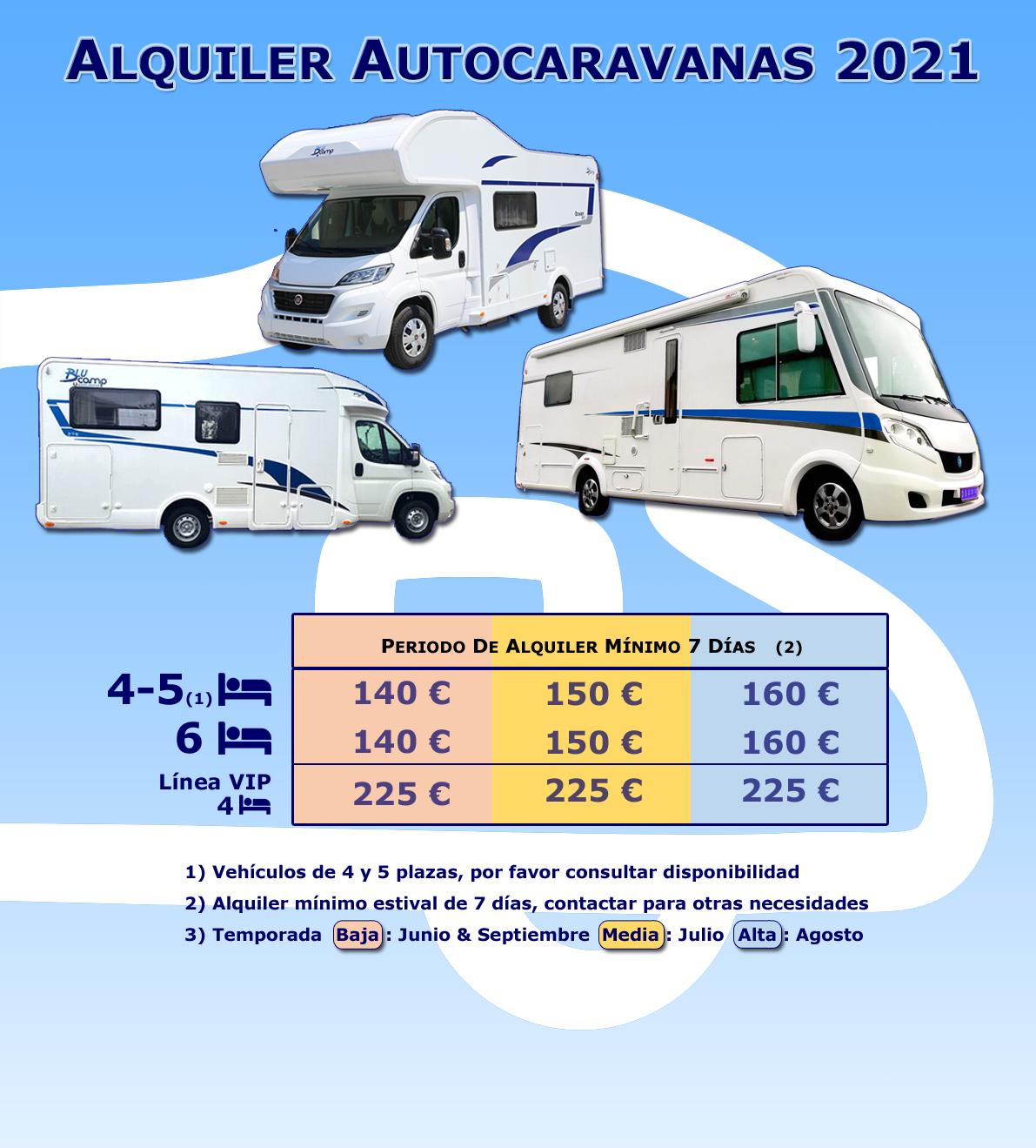 Alquiler de Autocaravanas - Tabla Precios Temporada 2021